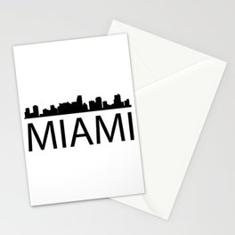 Black silhouette Miamis with word MIAMI Stationery Cards