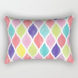 Preppy Wet Pastel Pattern in Blue, Pink, Salmon, Yellow, and Purple Rectangular Pillow