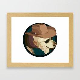 Golden Retriever in a Cowboy Hat Framed Art Print