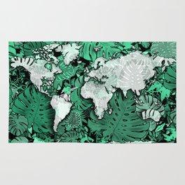 world map tropical leaves 3 Rug