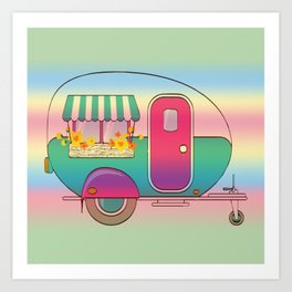 Happy Camper RV Camping Art Print
