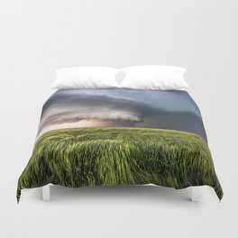 Leoti's Masterpiece - Incredible Storm in Western Kansas Duvet Cover
