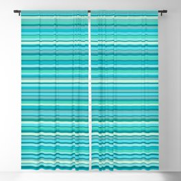 Tahitian Ocean Aqua Stripes Fine Stripe Pattern Blackout Curtain