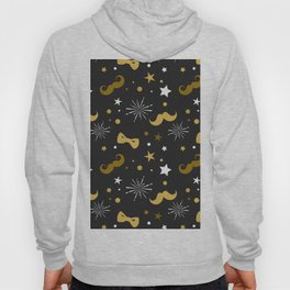 Festive gold and white mustache & bowties pattern Hoody