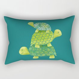 Turtle Stack Family in Teal and Lime Green Rectangular Pillow