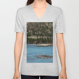 Sparkling River in Spring Unisex V-Neck