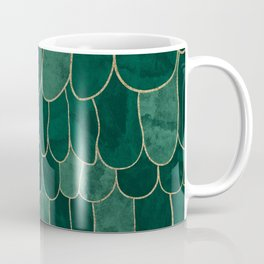 Stratosphere Emerald // Abstract Green Flowing Gradient Gold Foil Cloud Lining Water Color Decor Coffee Mug