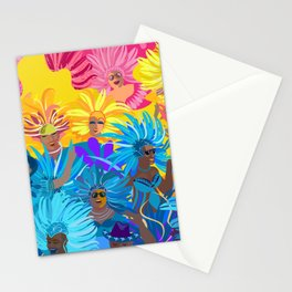 Samba Dancers. Carnival Festive Arrangement Abstract Contemporary Modern Art Colors Festival Party Stationery Cards