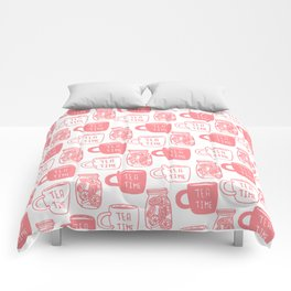 Abstract coral white tea cups modern typography Comforters
