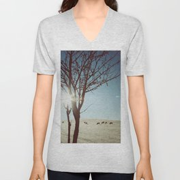 Tree and Cows Unisex V-Neck