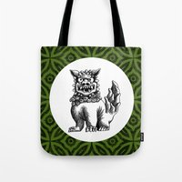 foo fighters Tote Bags featuring Green Foo by MY  HOME