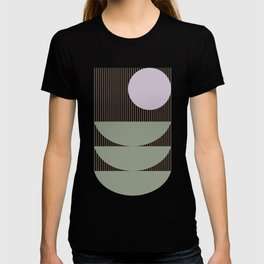 Lines and Shapes in Moss and Lilac T-shirt
