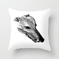 greyhound Throw Pillows featuring Greyhound by SarahGW