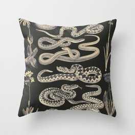 snakes and flowers Throw Pillow