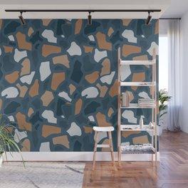 Abstract Terrazzo - Dark Blue Wall Mural