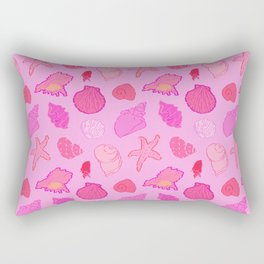 Simply Seashells Toss in Tonal Pink Rectangular Pillow