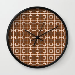 Chocolate Brown Square Chain Pattern Wall Clock