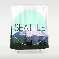 seattle Shower Curtains featuring SEATTLE by Lauren Jane Peterson