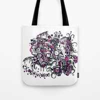 clockwork Tote Bags featuring Clockwork by Voodoodle