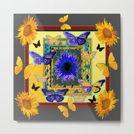 FANTASY ART PURPLE & YELLOW BUTTERFLIES SUNFLOWER Metal Print