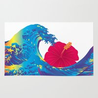 hokusai Area & Throw Rugs featuring Hokusai Rainbow & Hibiscus_R  by FACTORIE