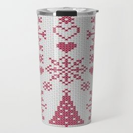 Christmas Cross Stitch Sampler Travel Mug