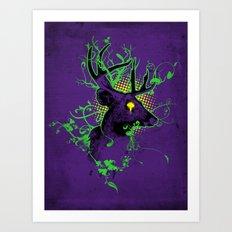 Trippy Ghost Deer Art Print
