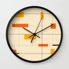 Mid Mod Grid in Orange Wall Clock