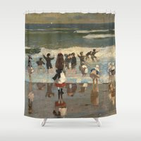 homer Shower Curtains featuring Beach Scene - Winslow Homer  by BravuraMedia