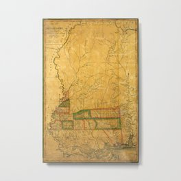 Map Of Mississippi 1820 Metal Print