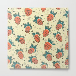 Seamless Pattern With Hand Drawn Strawberries. Hand Drawn Scandinavian Style Metal Print