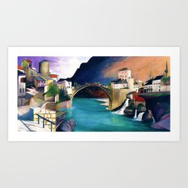 Mostar Old Town Panorama, Stari Most Bridge, Bosnia and Herzegovina by Tivadar Csontváry Kosztka Art Print