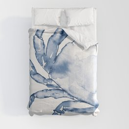 Coastal Crab in Watercolor, Navy Blue (Left Half in Set) Comforters