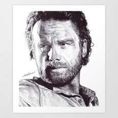 Rick Grimes (The Walking Dead) Pen Drawing  Art Print