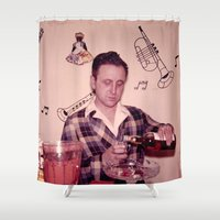 whiskey Shower Curtains featuring Whiskey Guy by 3 monsters