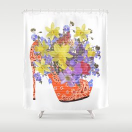 Blooming Shoe Shower Curtain