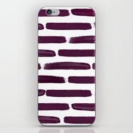 Modern Girly Wine Purple Brushstroke Stripes iPhone Skin