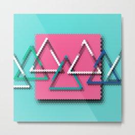 3D Pixelated Triangles Metal Print