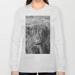 Black and white big Scottish Highland cow Long Sleeve T-shirt