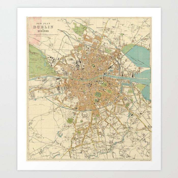 Map Of Dublin Ireland And Surrounding Area.Vintage Map Of Dublin Ireland 1914 Art Print By Bravuramedia