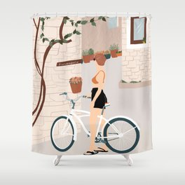 Girl with bike in the old town Shower Curtain