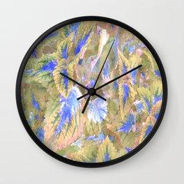 botanical coleus leaves camouflage art 2/3 Wall Clock