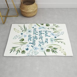 Floral Quote Blue Rug
