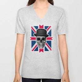 Skull with bowler hat and British flag Unisex V-Neck