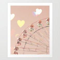 erris wheel nursery and heart bokeh on pale pink Art Print