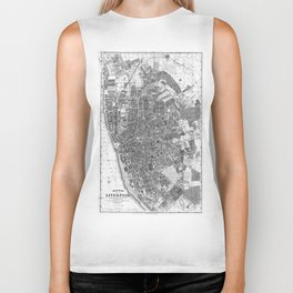 Vintage Map of Liverpool England (1890) BW Biker Tank