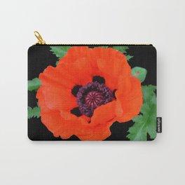 Orange oriental poppy on black Carry-All Pouch