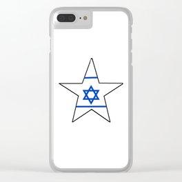 flag of israel 10-יִשְׂרָאֵל ,israeli,Herzl,Jerusalem,Hebrew,Judaism,jew,David,Salomon. Clear iPhone Case