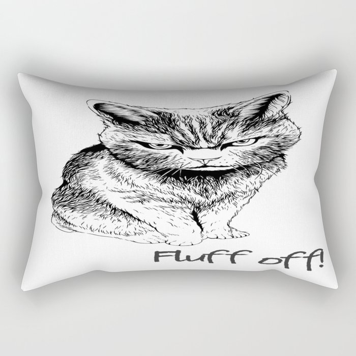 Fluff Off Angry Cat Rectangular Pillow