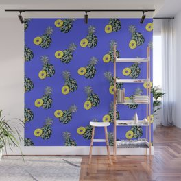 Electric Blue Pineapples Wall Mural